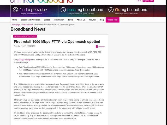 First retail 1000 Mbps FTTP via Openreach spotted