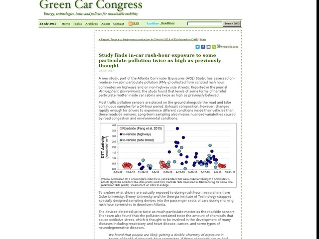 Study finds in-car rush-hour exposure to some particulate pollution twice as high as previously thought
