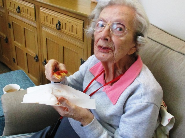 Care home residents celebrate National Pizza Day