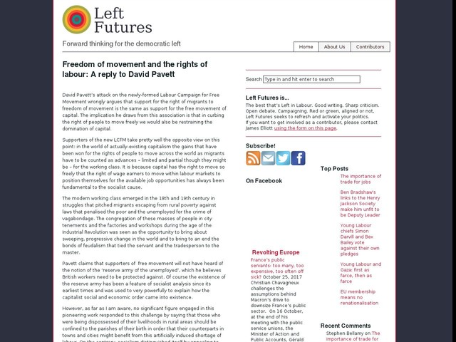 Freedom of movement and the rights of labour: A reply to David Pavett