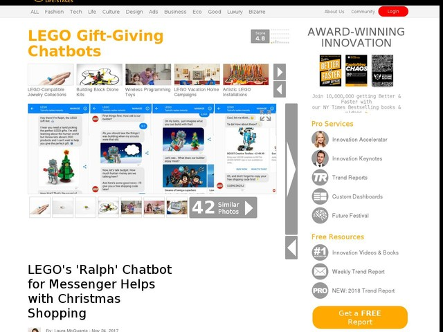 LEGO Gift-Giving Chatbots - LEGO's 'Ralph' Chatbot for Messenger Helps with Christmas Shopping (TrendHunter.com)