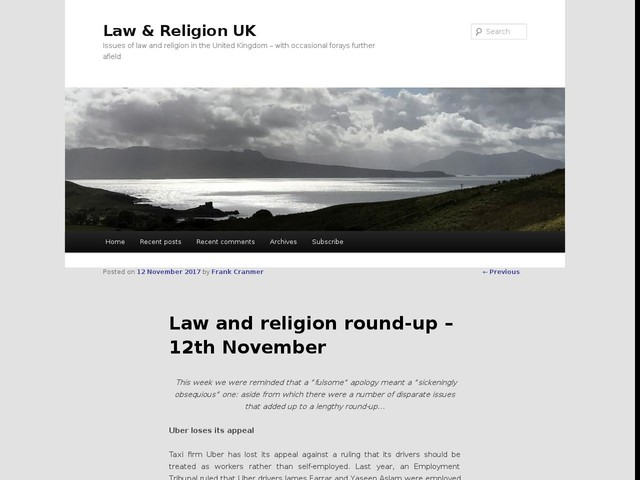Law and religion round-up – 12th November