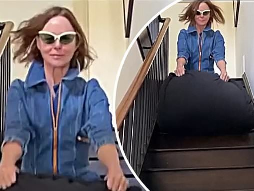 Stella McCartney races down her staircase in sleeping bag in hilarious video