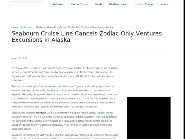 Seabourn Cruise Line Cancels Zodiac-Only Ventures Excursions in Alaska