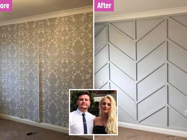 Woman creates stunning panelled feature wall on a budget – using B&Q paint and Wilkos bargains