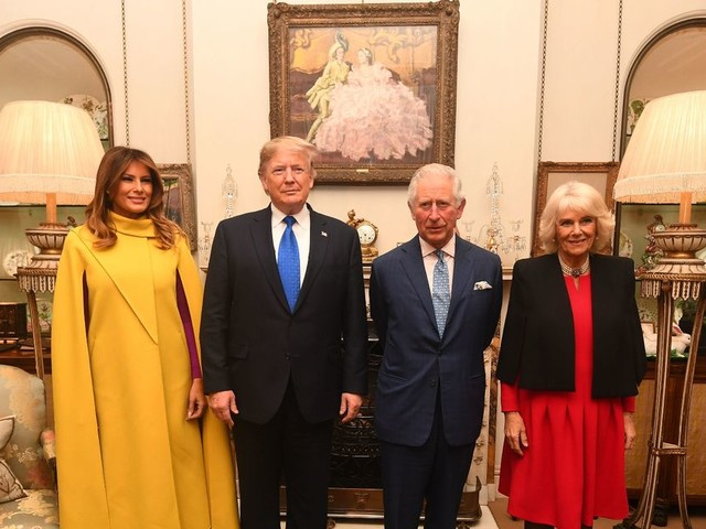 Donald Trump and Melania arrive at Clarence House for tea with Prince Charles