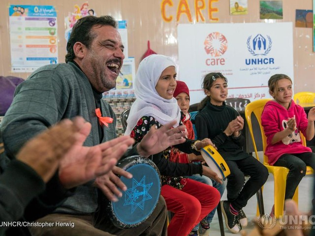 This blind Syrian refugee teaches music to kids with disabilities