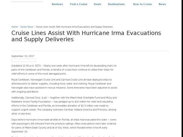 Cruise Lines Assist With Hurricane Irma Evacuations and Supply Deliveries