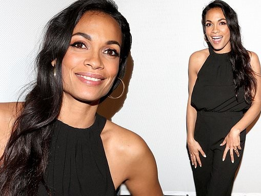 Rosario Dawson stuns in a black ensemble at the premiere of new documentary LA Woman Rising