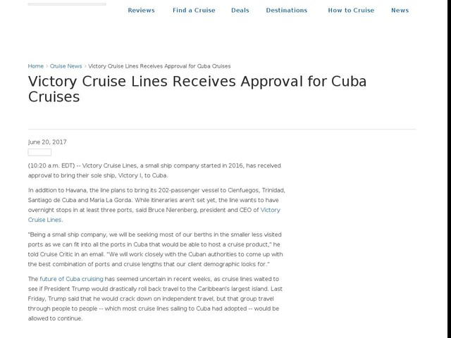 Victory Cruise Lines Receives Approval for Cuba Cruises