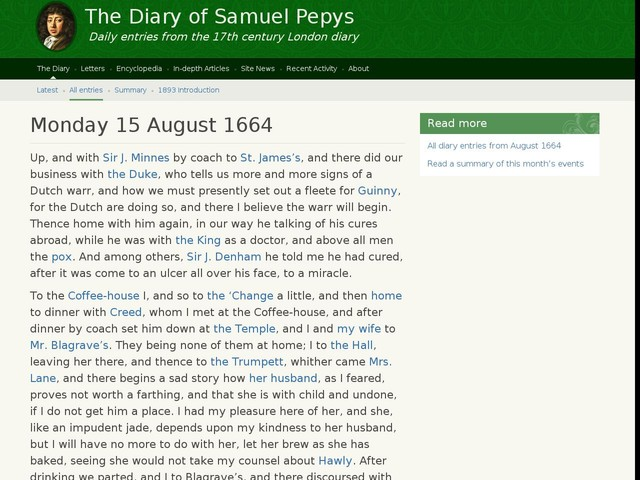 Monday 15 August 1664