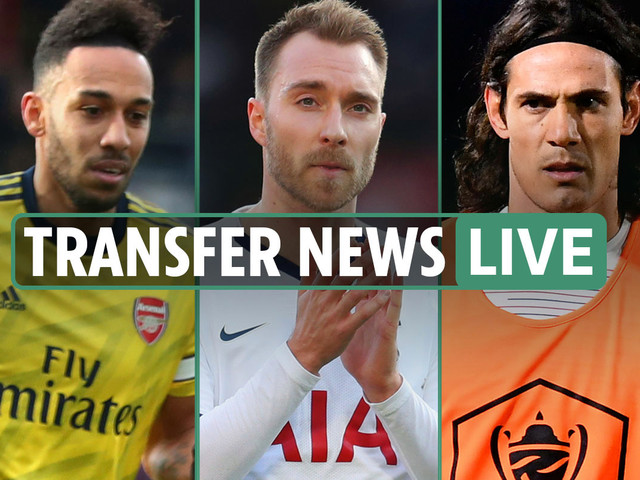 1pm Transfer news LIVE: Arsenal's Aubameyang to Barcelona, Eriksen to Inter LATEST, Man Utd and Chelsea in Cavani race