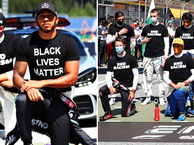 Hamilton takes knee as drivers unite at start of F1 race, but six drivers including LeClerc and Verstappen don't kneel