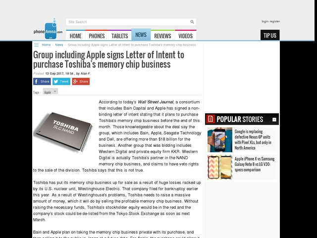 Group including Apple signs Letter of Intent to purchase Toshiba's memory chip business