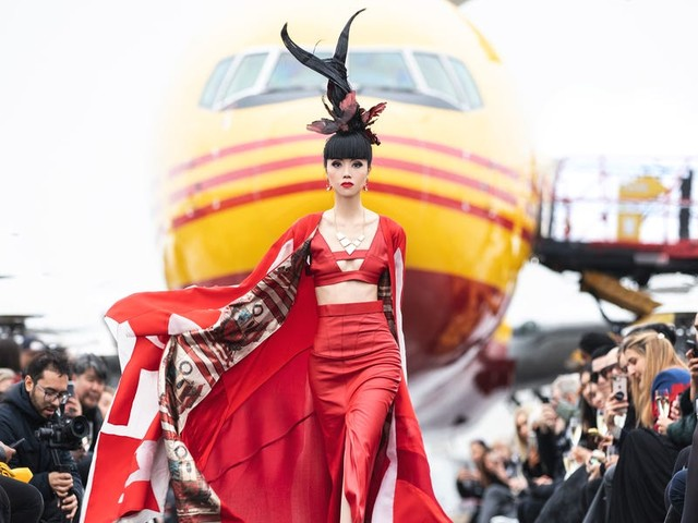 DHL put on a fashion show on the tarmac at New York's JFK Airport right in front of a Boeing 767 cargo plane