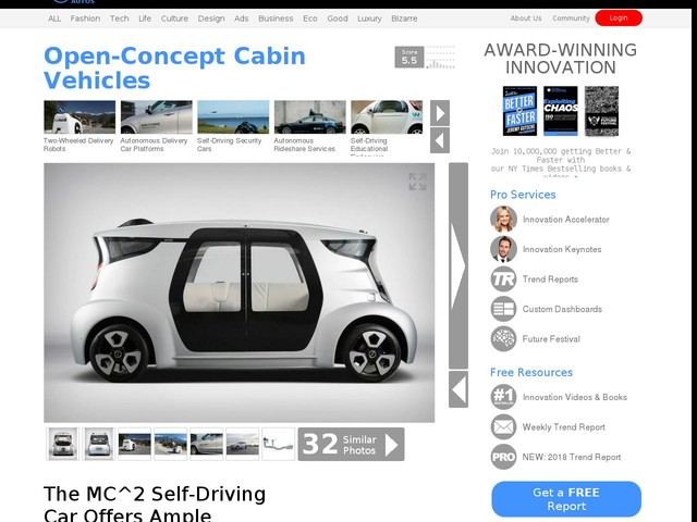 Open-Concept Cabin Vehicles - The MC^2 Self-Driving Car Offers Ample Passenger Space (TrendHunter.com)