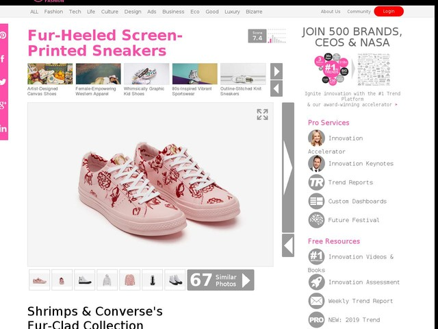 Fur-Heeled Screen-Printed Sneakers - Shrimps & Converse's Fur-Clad Collection Explores Bright Prints (TrendHunter.com)