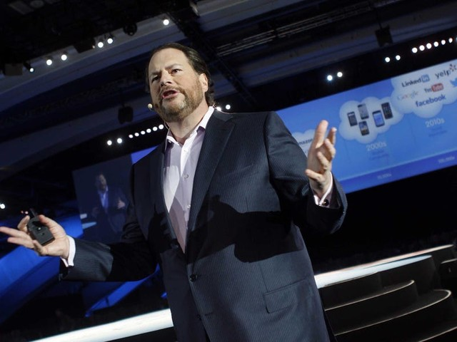 Marc Benioff gave a protester who interrupted his speech 30 seconds to talk, with a giant countdown clock displayed on the conference screen, 'because I value free speech' (CRM)