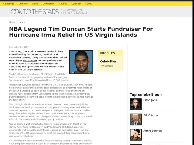 NBA Legend Tim Duncan Starts Fundraiser For Hurricane Irma Relief In US Virgin Islands