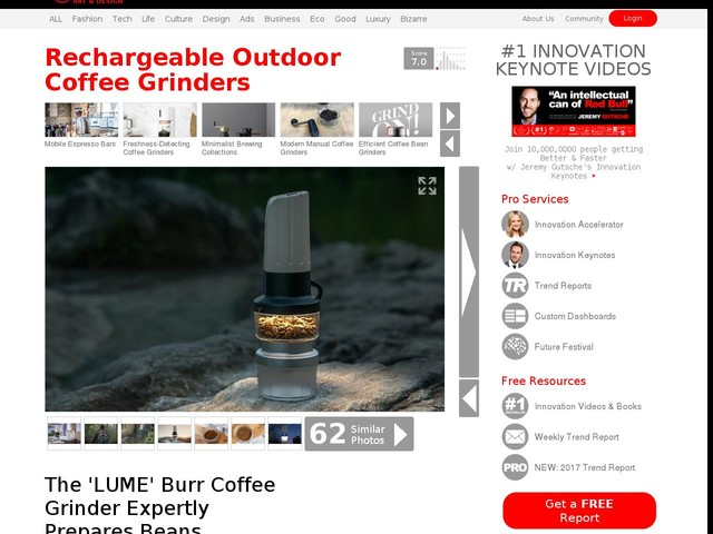 Rechargeable Outdoor Coffee Grinders - The 'LUME' Burr Coffee Grinder Expertly Prepares Beans (TrendHunter.com)