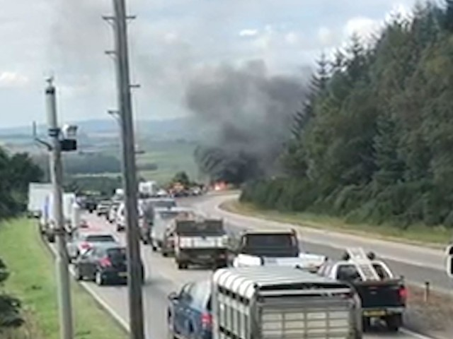 Section of A96 closed following car fire