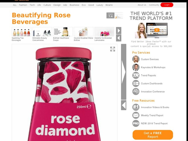 Beautifying Rose Beverages - 'Rose Diamond' is a Luxe Beauty Beverage Made with Bulgarian Rose Oil (TrendHunter.com)