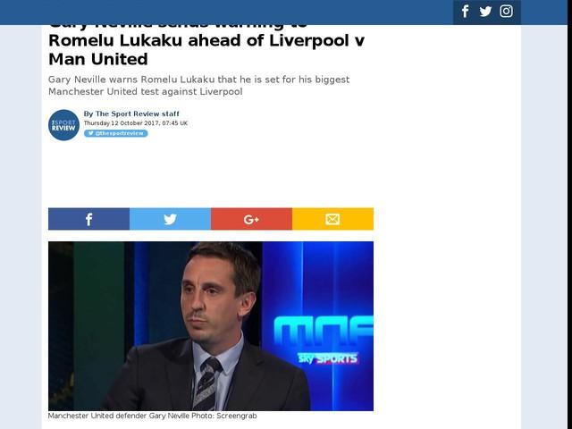 Gary Neville sends warning to Romelu Lukaku ahead of Liverpool v Man United