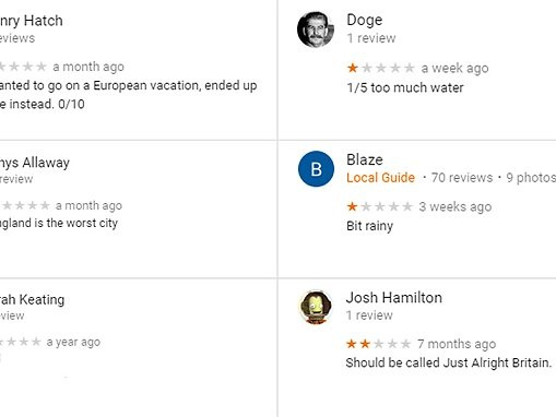 Google Maps hosts bizarre review page for Great Britain
