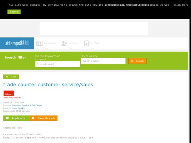trade counter customer service/sales