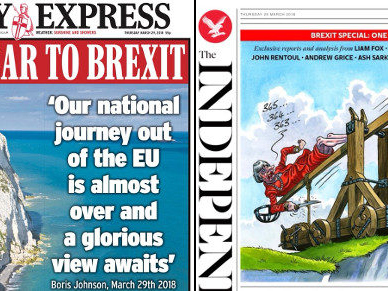 One-year-to-Brexit front pages: white cliffs of Dover editions