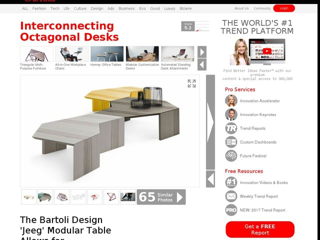 Interconnecting Octagonal Desks - The Bartoli Design 'Jeeg' Modular Table Allows for Reconfiguration (TrendHunter.com)
