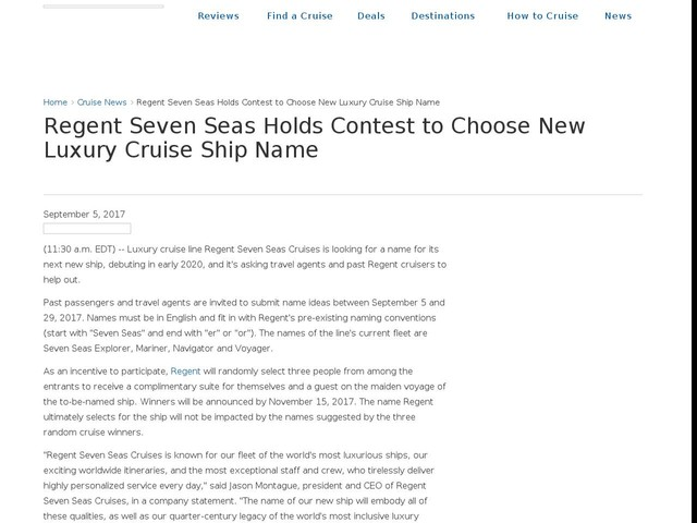 Regent Seven Seas Holds Contest to Choose New Luxury Cruise Ship Name