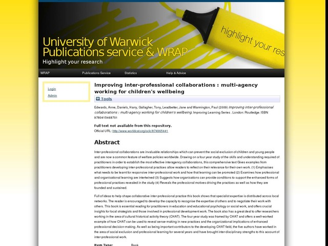 Improving inter-professional collaborations : multi-agency working for children's wellbeing