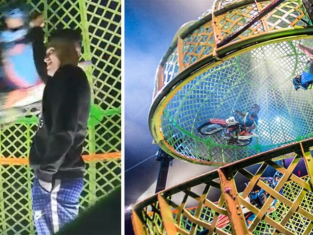 Manchester City keeper Ederson filmed inside 'Globe of Death' at circus - 48 hours before League Cup final