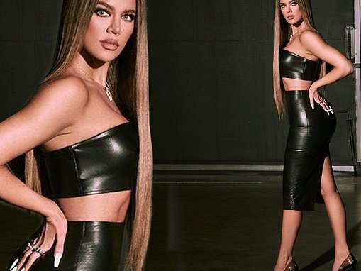 Khloe Kardashian strikes a pose in a vinyl tube top and pencil skirt for her brand Good American