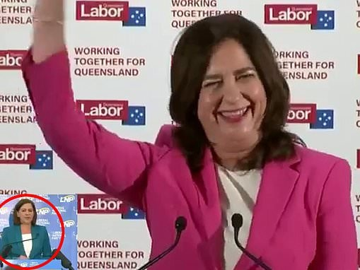 Queensland election: Deb Frecklington starts her speech in the middle of Annastacia Palaszczuk's