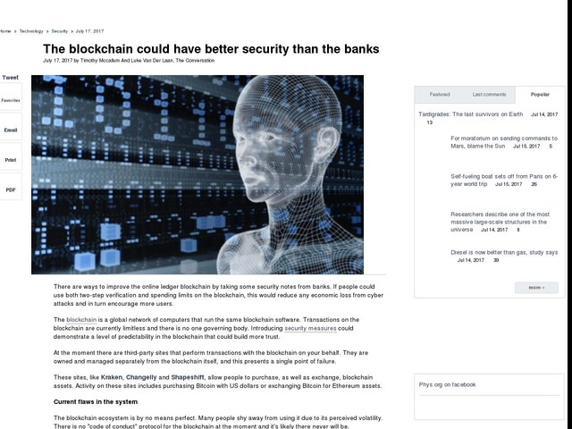 The blockchain could have better security than the banks