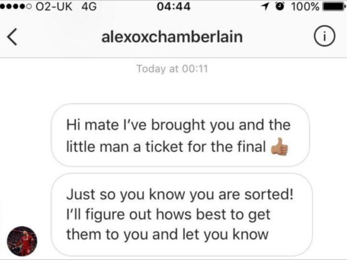'I Started Crying When I Saw His Message' – Alex Oxlade-Chamberlain Surprises Luckless Liverpool Fans With Two Tickets To Champions League Final