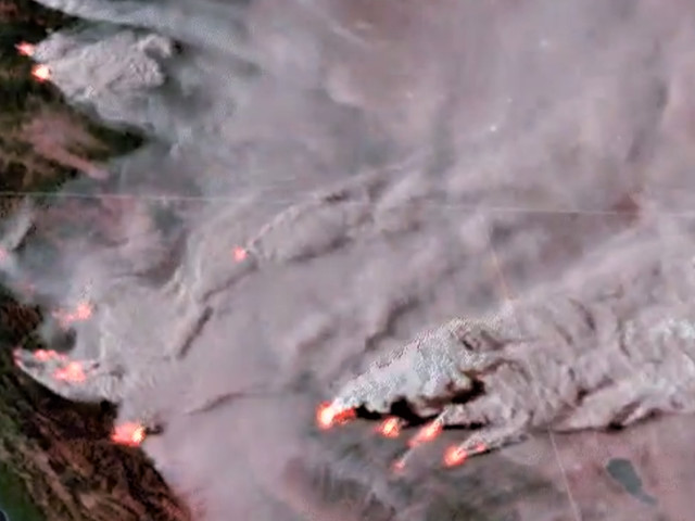 Space footage shows fires intensely blowing up in Western U.S.