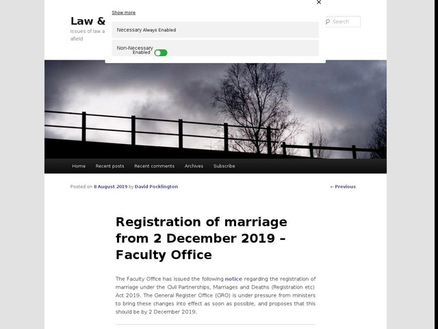 Registration of marriage from 2 December 2019 – Faculty Office