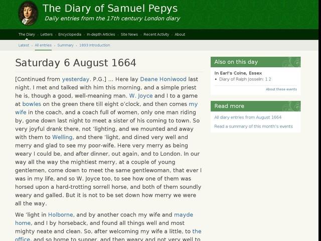 Saturday 6 August 1664