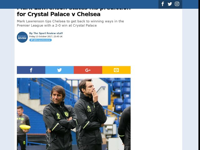 Mark Lawrenson states his prediction for Crystal Palace v Chelsea