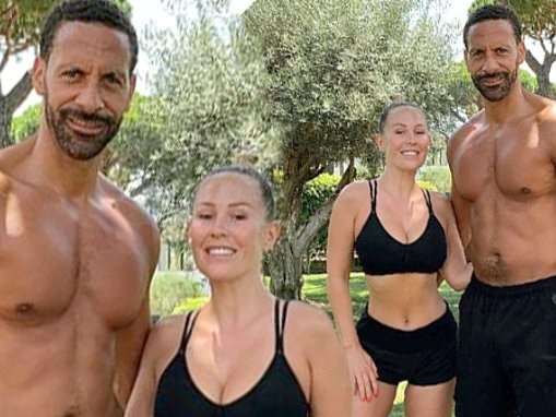 Kate Wright shows off tiny waist in a sports bra for ANOTHER couple's workout with Rio Ferdinand