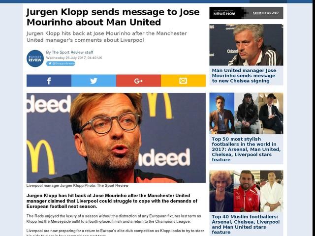 Jurgen Klopp sends message to Jose Mourinho about Man United