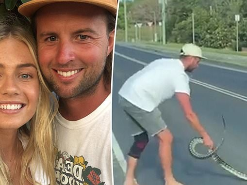 Elyse Knowles' fiancé Josh Barker saves a snake from the middle of the road