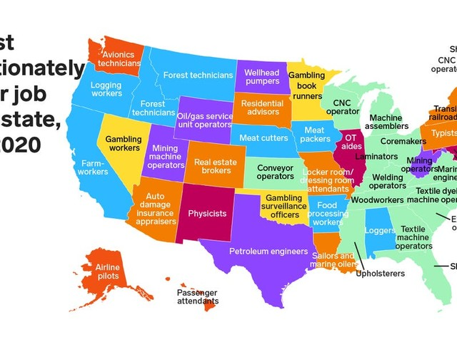 Here's the most disproportionately popular job in every state