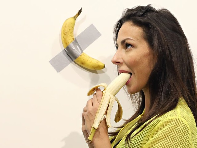 An artist sold a banana duct-taped to the wall for $120,000. On Sunday, someone tore the fruit off the wall and ate it.