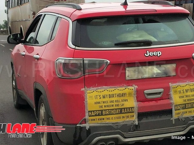Jeep Compass spotted carrying the cutest Happy Birthday message