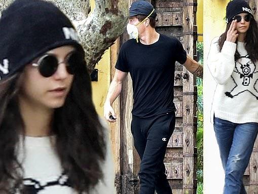 Nina Dobrev's rumored love interest Shaun White is seen leaving her home in LA wearing medical mask