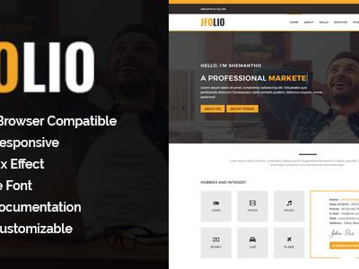 JFOLIO - One Page Portfolio Template (Virtual Business Card)